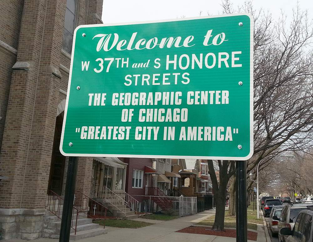The sign at 37th and Honore streets notes it is the geographic center of Chicago.