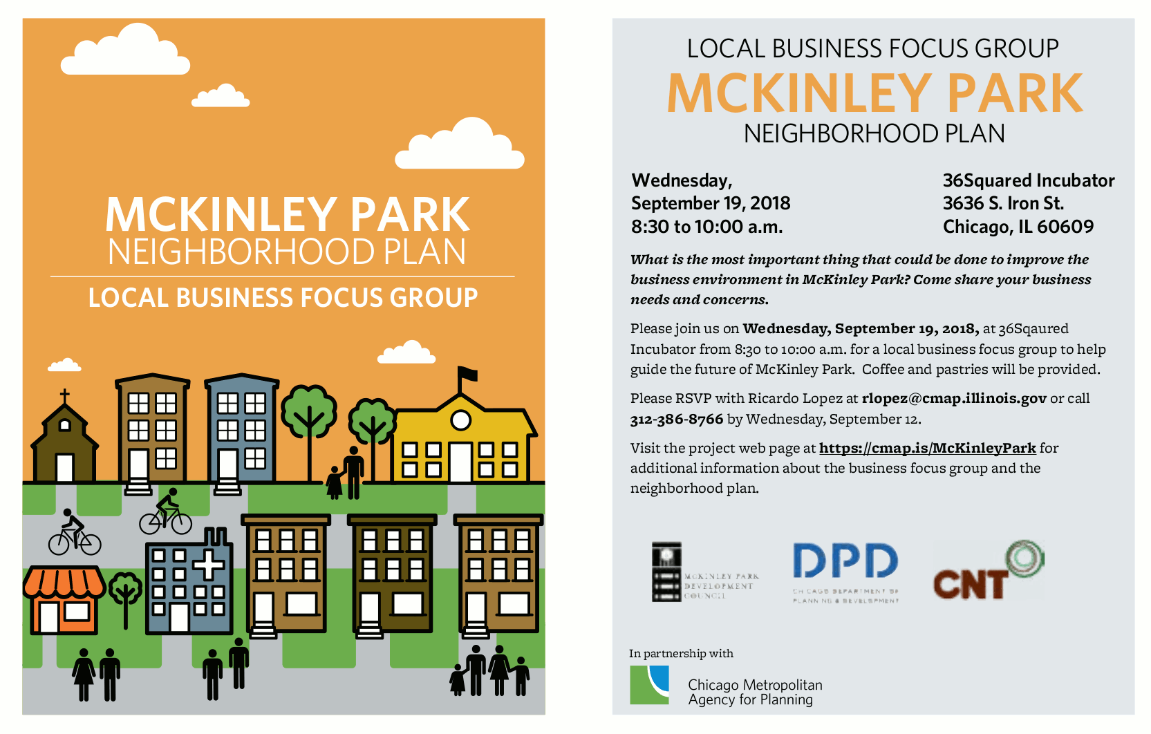 McKinley Park Neighborhood Plan Local Business Focus Group flyer 20180919