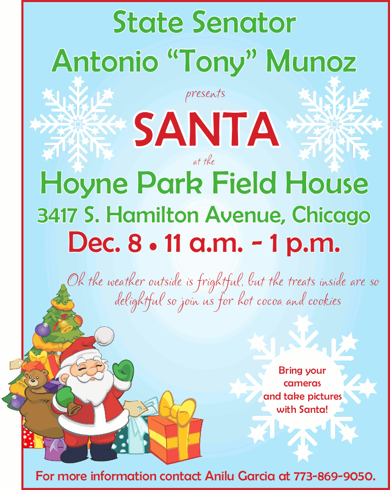Santa at Hoyne Park Field House Tony Munoz 20181208 poster