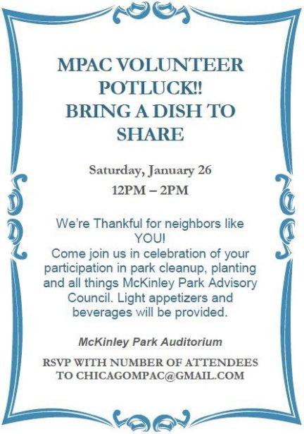 Volunteer Appreciation Potluck - noon to 2 p m  on Sat , Jan  26