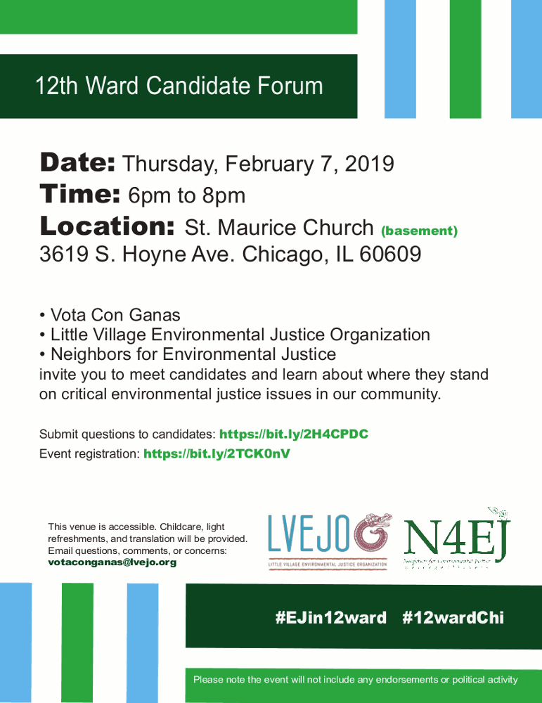 12th Ward Candidate Forum poster 20190207