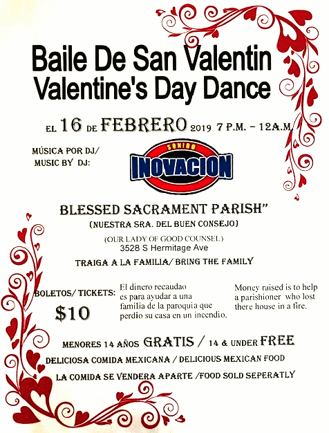 Blessed Sacrament Parish Valentines Day Dance poster 20190216