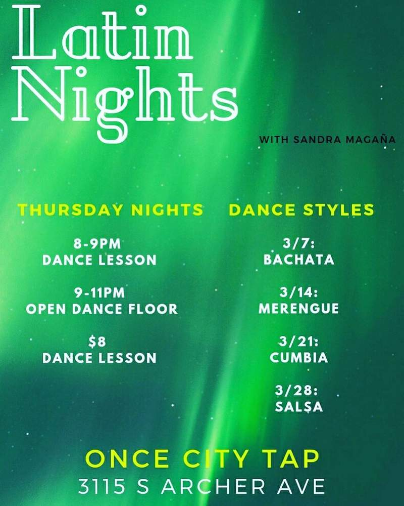 Latin Nights Sandra Magana One City Tap March2019 poster forweb