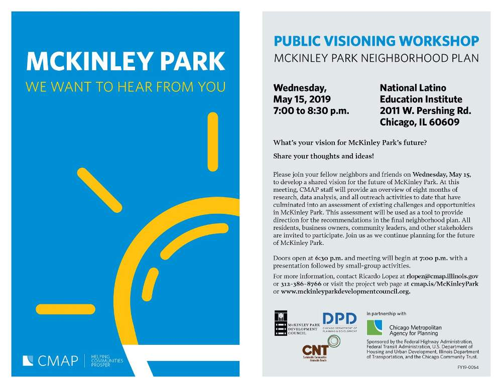 CMAP neighborhood plan meeting McKinley Park Development Council 20190515 poster forweb