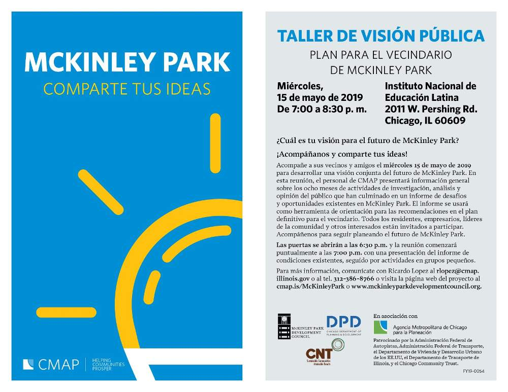 CMAP neighborhood plan meeting McKinley Park Development Council 20190515 poster spanish forweb