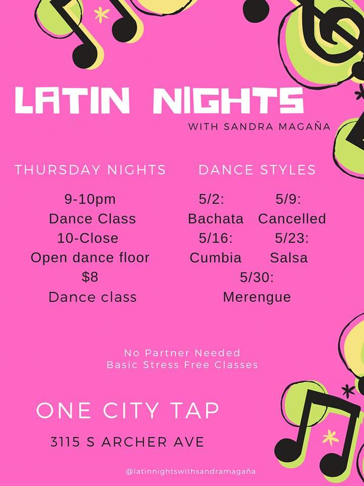 One City Tap Latin Nights Sandra Magnana May 2019 poster forweb