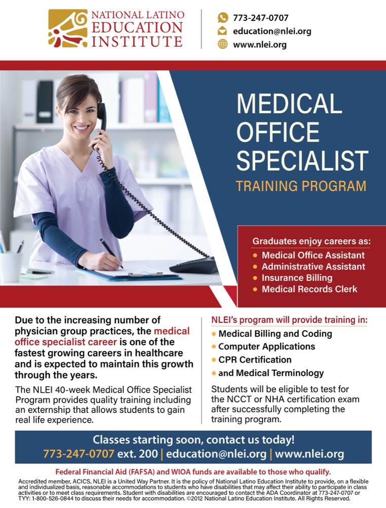 National Latino Education Institute Medical Office Specialist training poster