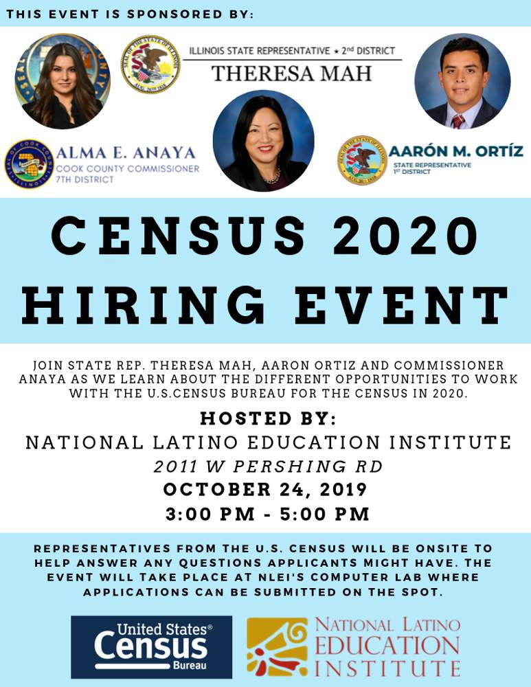 Census 2020 Hiring Event National Latino Education Institute 20191024 poster