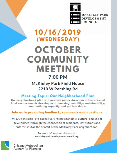 McKinley Park Development Council Community Meeting 20191016