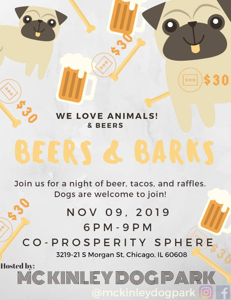 McKinley Dog Park Advisory Council Beers and Barks 20191109 poster