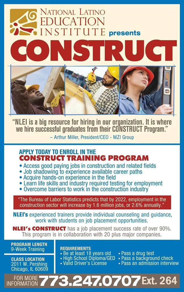 National Latino Education Institute Construct program poster 2020