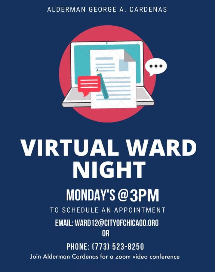 12th Ward Alderman George Cardenas Virtual Ward Night poster 202006