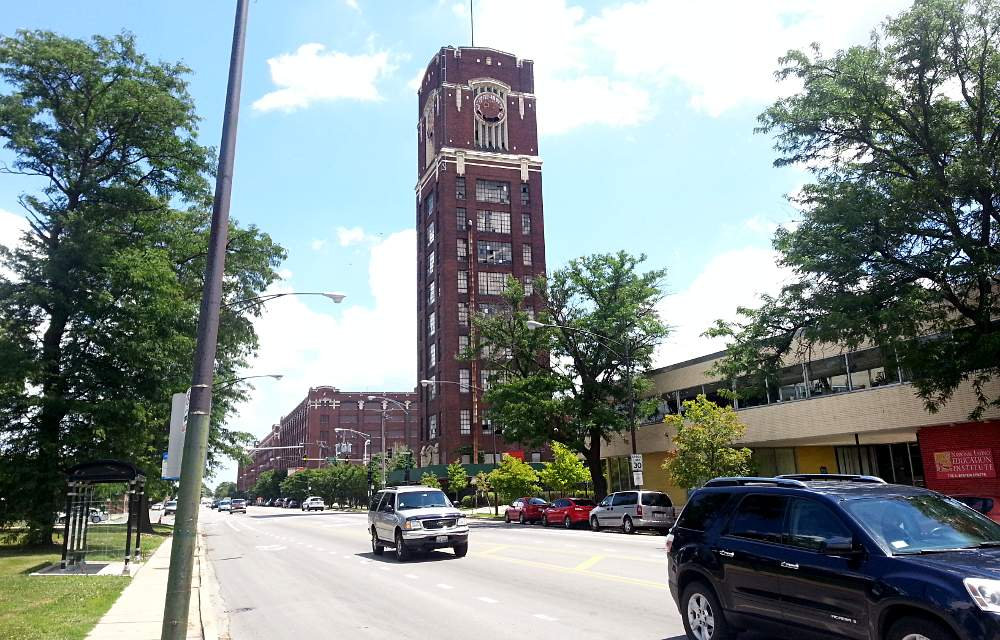 The historic and decaying clock tower at Damen Avenue and Pershing Road anchors Chicago's Central Manufacturing District.