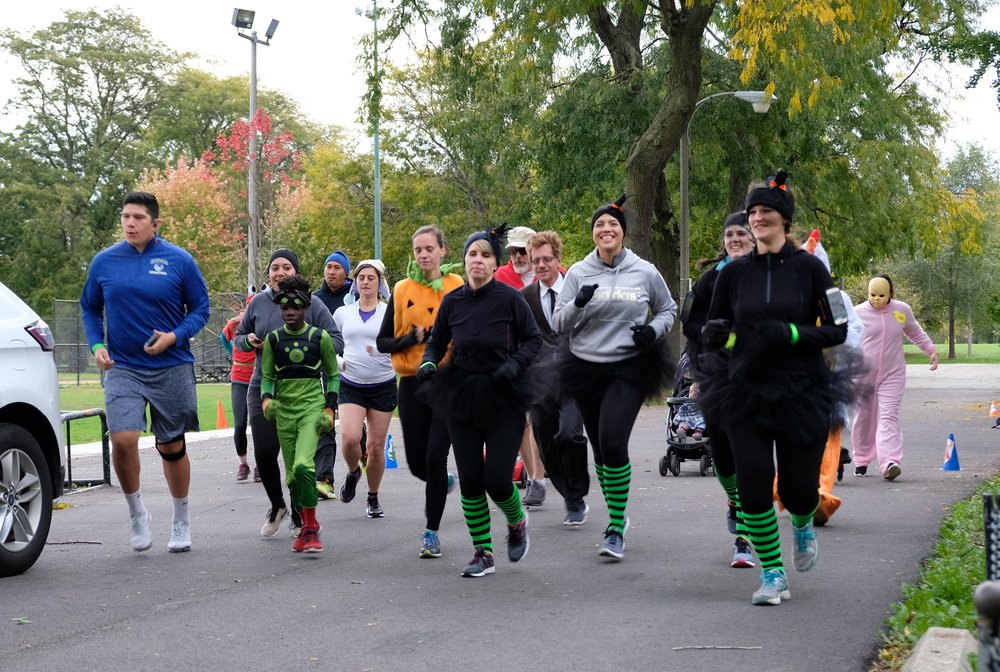 Runners start the McKinley Park Advisory Council's 5K Halloween Fun Run/Walk on Saturday, October 28, 2017.