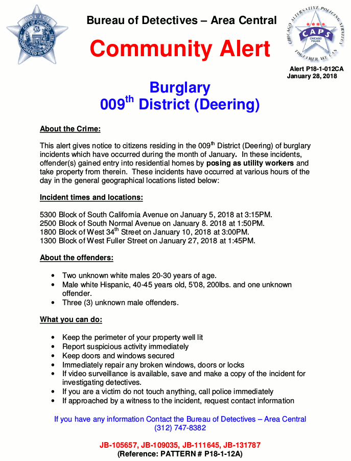 Chicago Police 9th District Community Alert Burglary 20180128 forweb