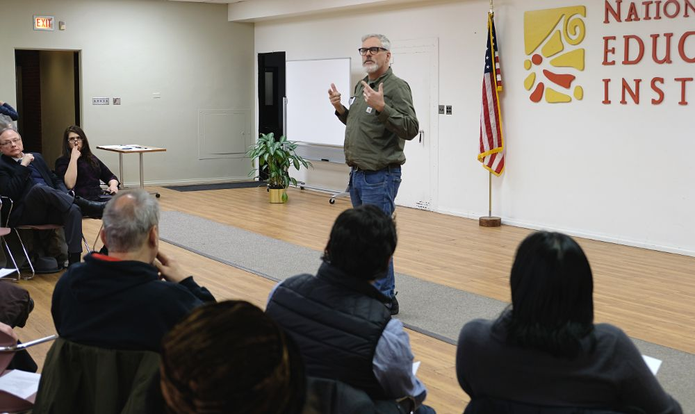 McKinley Park Development Council Member Tony Adams discusses creating a neighborhood development plan on Wednesday, January 17, at the council meeting at the National Latino Education Institute.