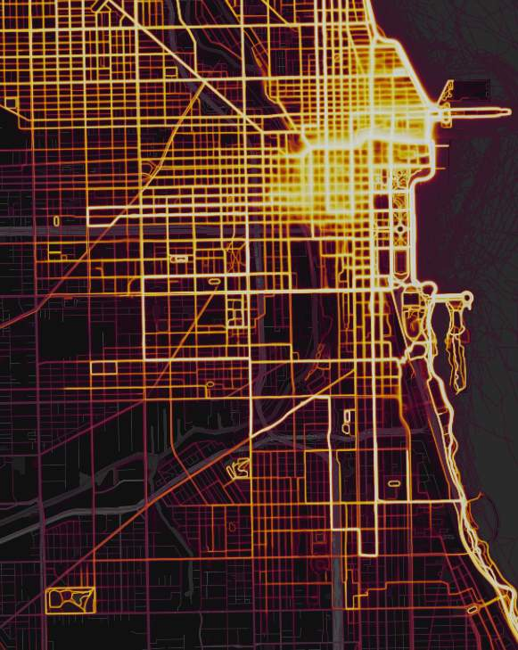 Strava Map McKinley Park heatmap Southwest Side