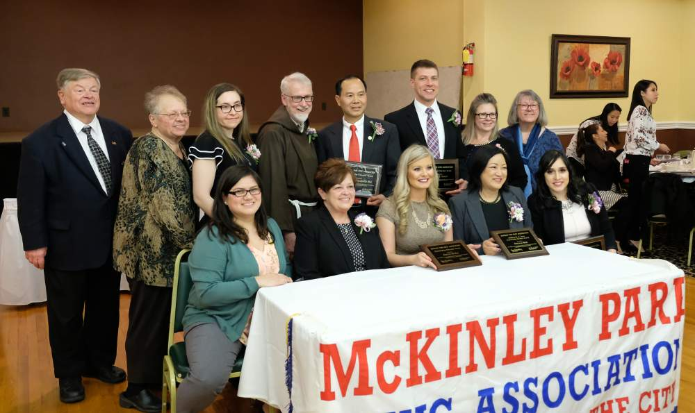 McKinley Park Civic Association awardees and officers celebrate at the annual banquet on March 4, 2018.