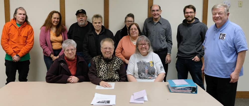 McKinley Park Civic Association officers, members and friends meet at the library for the monthly meeting on March 7, 2018.