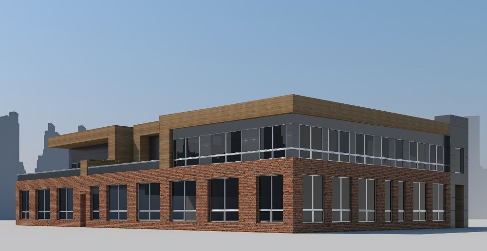 An architectural rendering displays a side view of the planned school building design.