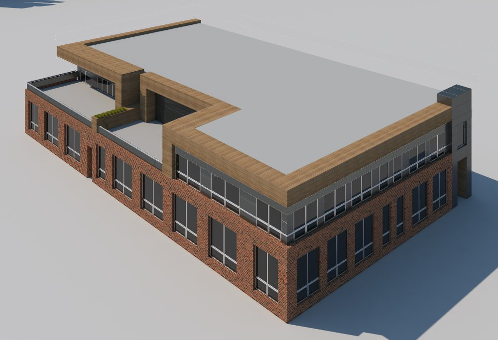 A top view of the school design displays proportion and layout in an architectural rendering.