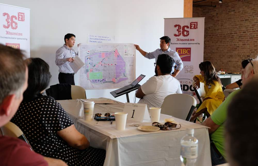 Jorge Vega, left, shares the results of his breakout group's brainstorming at the September 19 focus group with the help of Ricardo Lopez from the Chicago Metropolitan Agency for Planning.