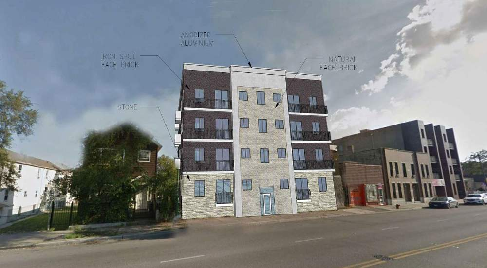 A rendering illustrates the planned design of the new building at 3211 S. Archer Ave.