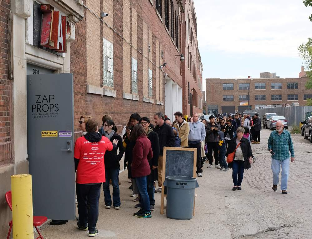 From this past weekend, Open House Chicago attendees mob Zap Props on Sunday, October 14.