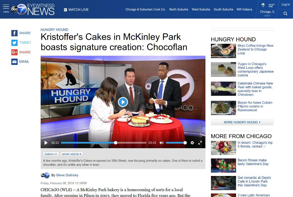The ABC7 News website features Steve Dolinsky's writeup and video reports on Kristoffer's Cakes in the McKinley Park neighborhood.