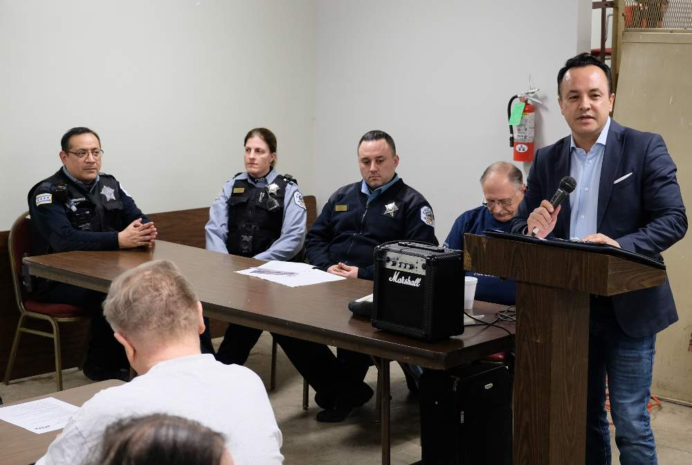 12th Ward Alderman George Cardenas speaks on neighborhood issues at the March 13, 2019, meeting of Beat 912 of the Chicago Alternative Policing Strategy (CAPS).