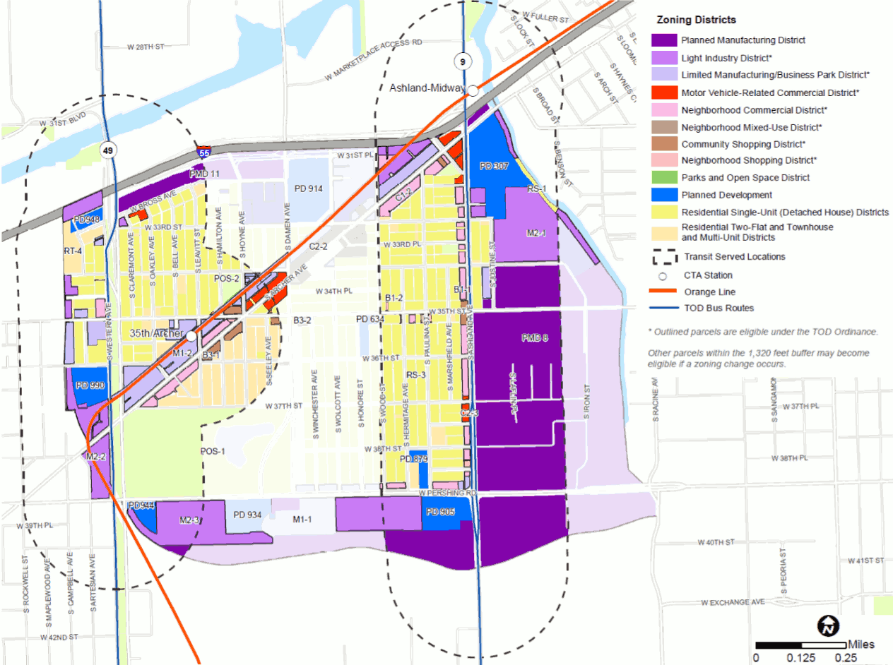Most of McKinley Park falls within planned transit-oriented development zones, as shown in a figure from the Existing Conditions Report for the neighborhood plan coming from the McKinley Park Development Council and the Chicago Metropolitan Agency for Planning (CMAP).