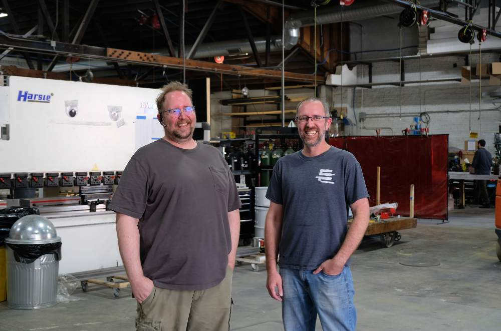 Bridgewater Studio co-founders Eric Cup, left, and Patrick Justice show off their custom fabrication shop in the McKinley Park neighborhood of Chicago.