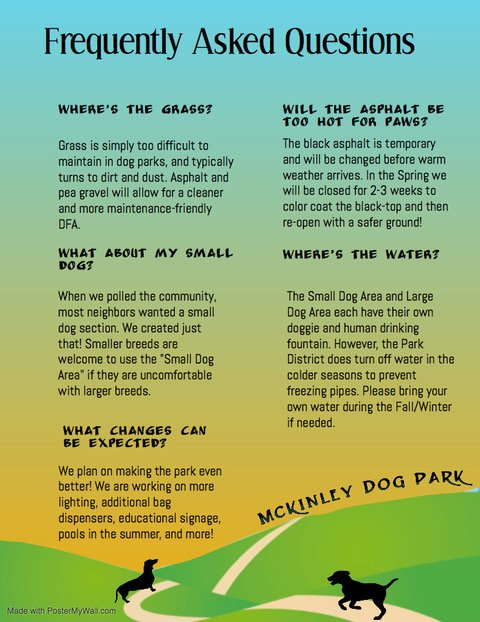 McKinley Park Dog Park Frequently Asked Questions 202001