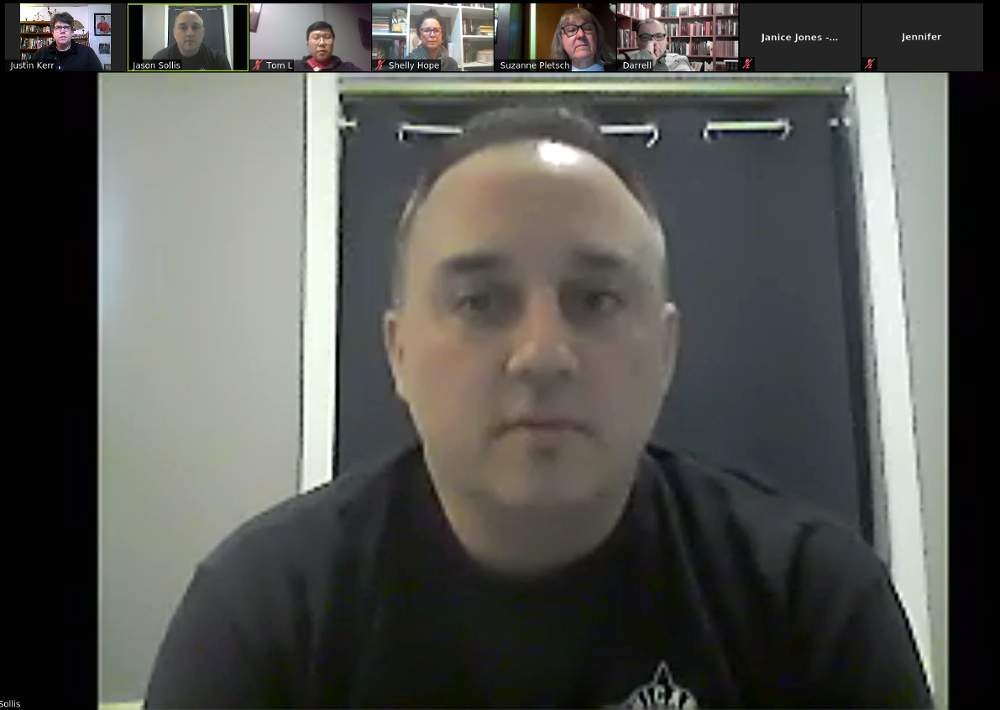 Officer Jason Sollis leads the CAPS Beat 912 meeting on Wednesday, April 22, in an online video chat due to the COVID-19/coronavirus pandemic.