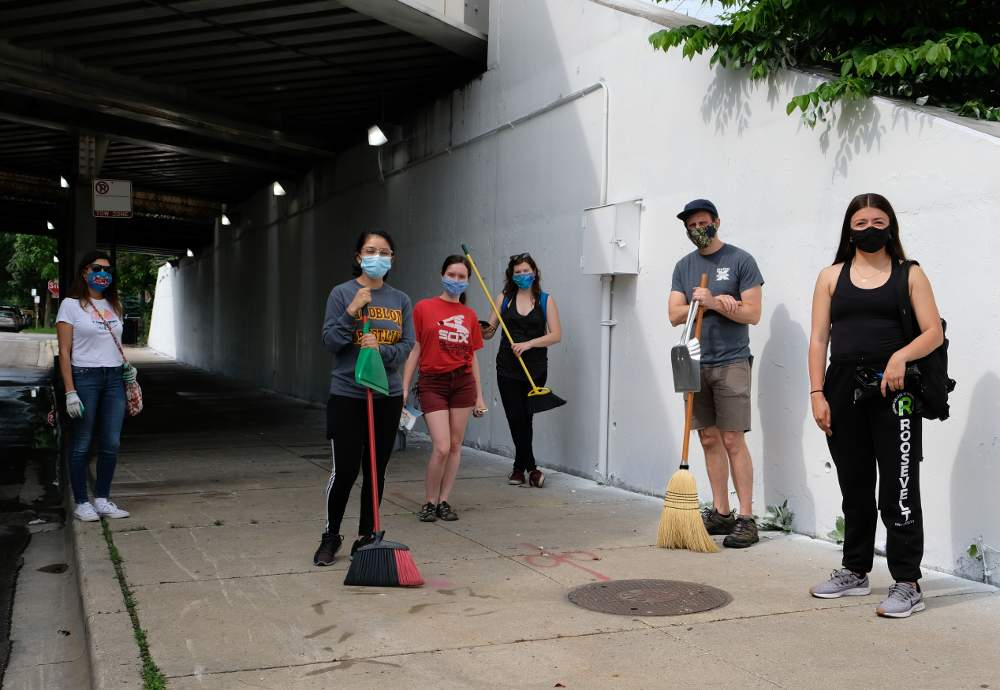 The volunteer crew for the spontaneous McKinley Park Community Cleanup event on Thursday, June 4, includes, from left, local residents Vicky Rodriguez, Kasandra Negrete, Rosa Gallagher, Lizz Wallace, David Wolf and Ruby Negrete.
