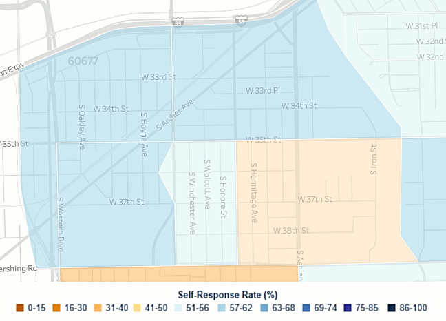 An online map of response rates for the U.S. census displays self-reported rates for the McKinley Park neighborhood.