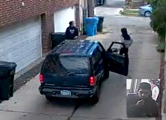 Stills from surveillance video show a robber accosting the McKinley Park teen-age victim and the visage of the suspected driver in the strong-arm robbery on Saturday, October 24, in an alley off the 3500 block of South Seeley Avenue, Chicago.