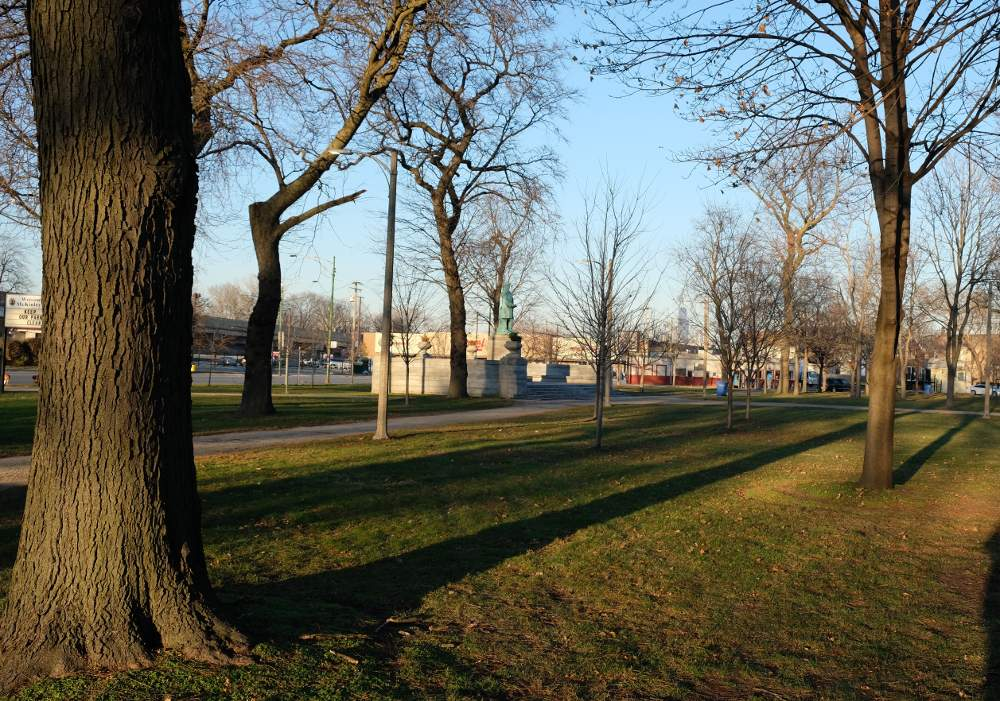 Late afternoon shadows lengthen in Chicago's McKinley Park near the William McKinley memorial at South Archer Avenue and South Western Boulevard, a target of vandals in the early morning hours of November 25, 2020.