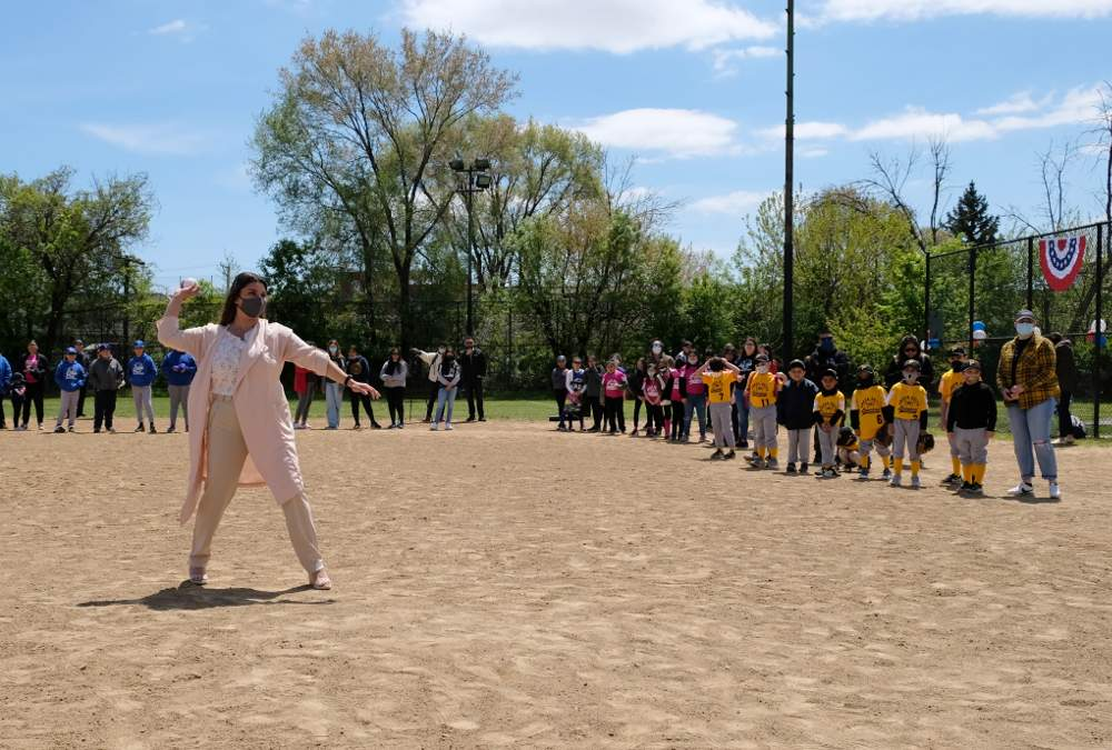 Cook County 7th District Commissioner Alma Anaya throws out the first pitch of the season for the Omega Delta Youth Baseball & Softball League following opening ceremonies on Saturday, May 8, 2021, at Hoyne Park, 3417 S. Hamilton Ave., Chicago.