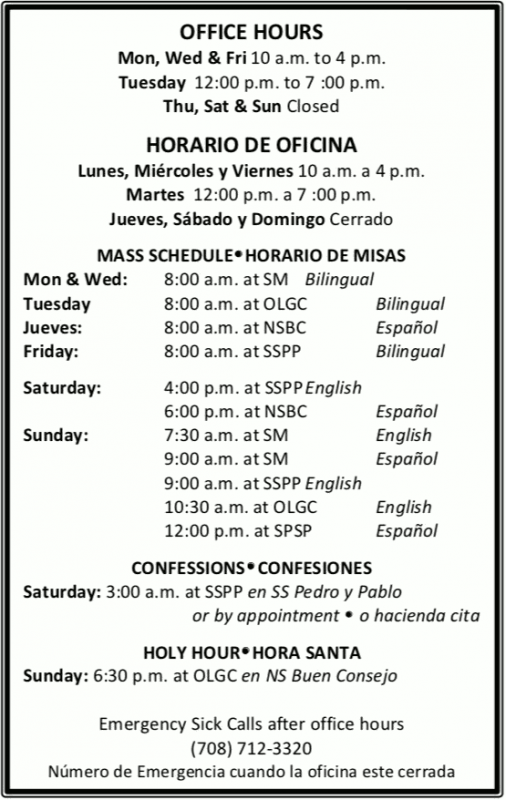 blessed sacrament parish hours card